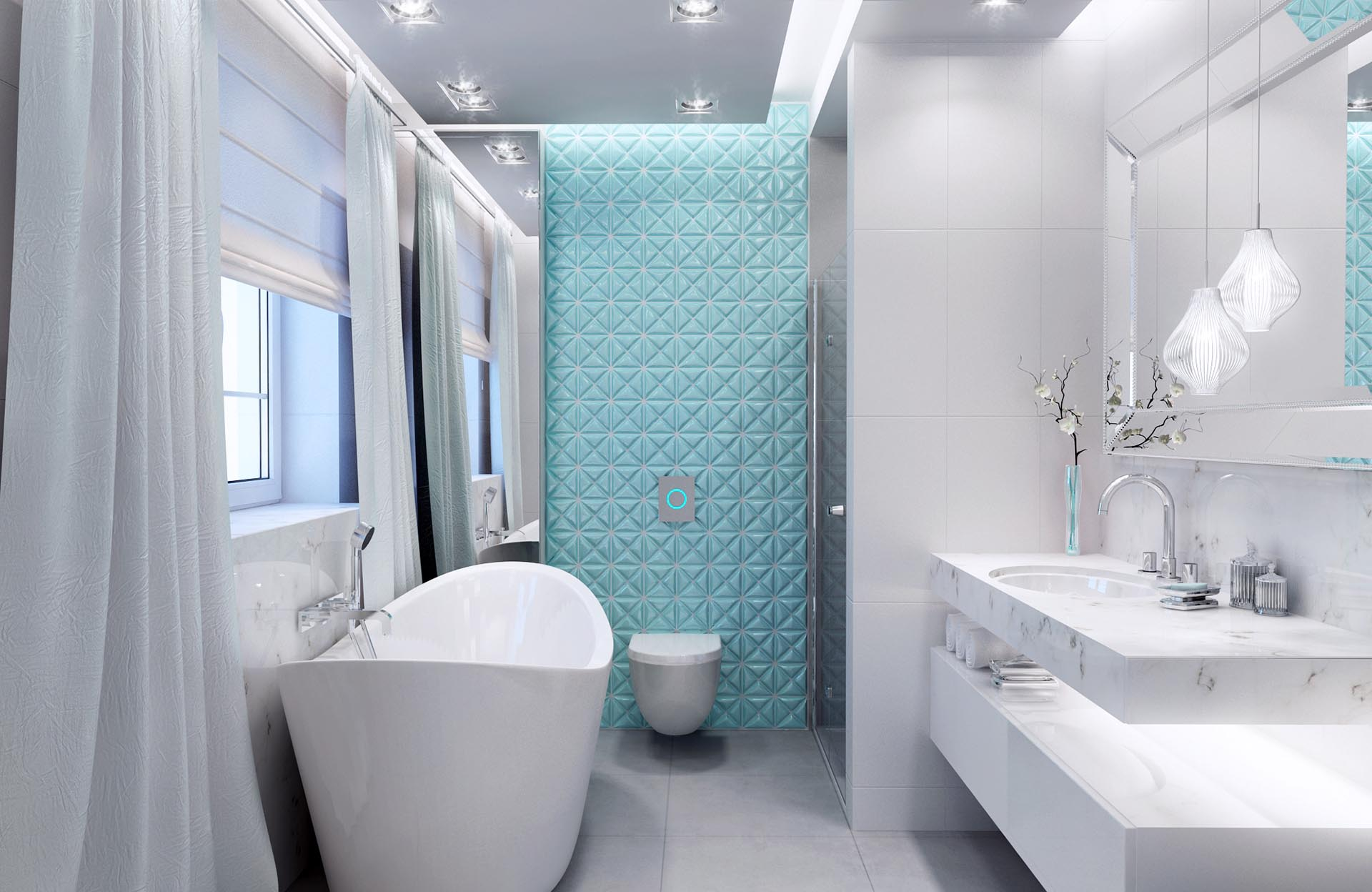 Łazienka Biała Aquamaryna